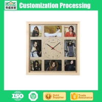 Modern Living Room Creative Wooden Customizable DIY Wall Clock with Photo Frames