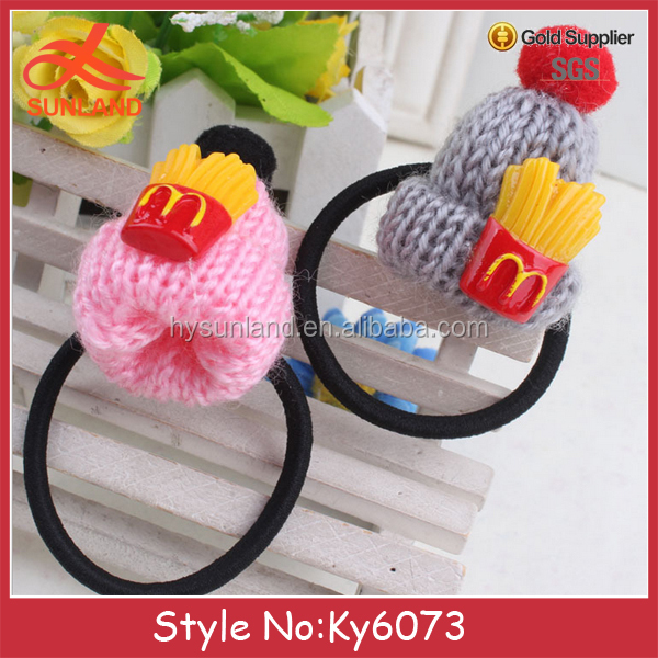 Hot sale Knitted hair rope with flower accessories Lovey rope tie head hair ring with knitted hat