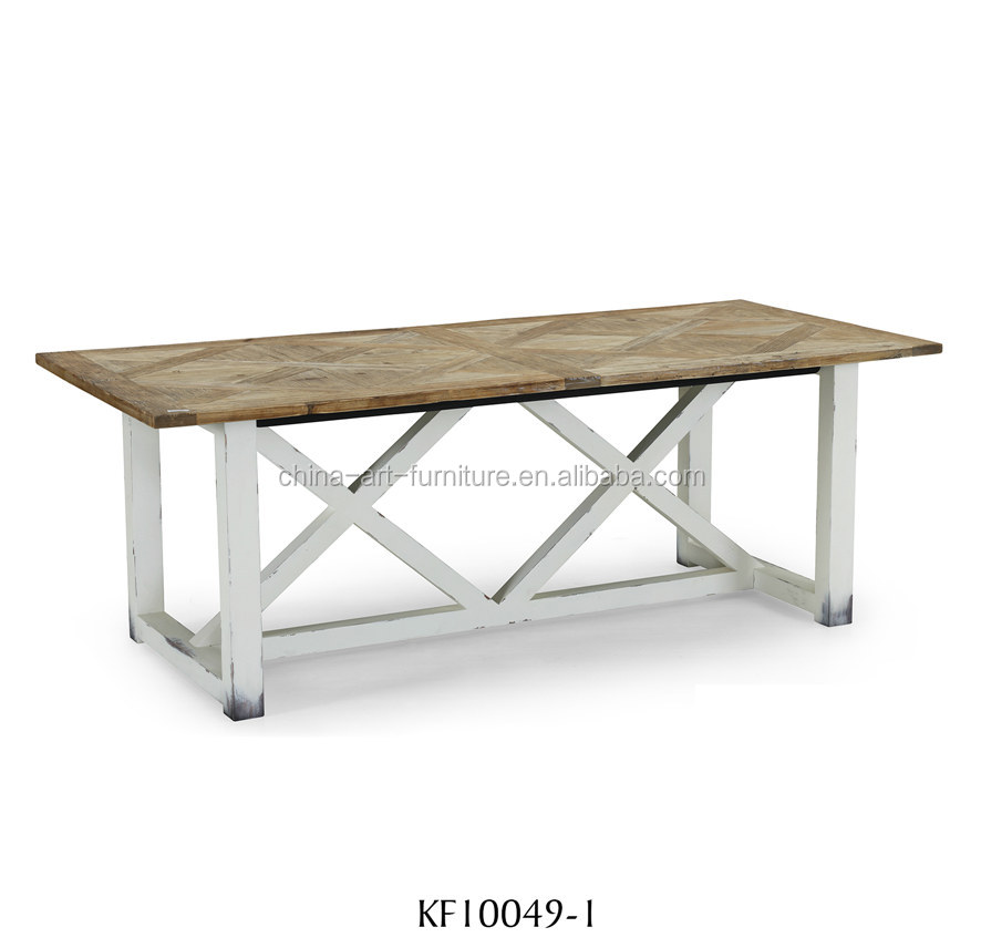 Solid wood dining table with parquet top, European <strong>style</strong> <strong>furniture</strong>, recycled fir