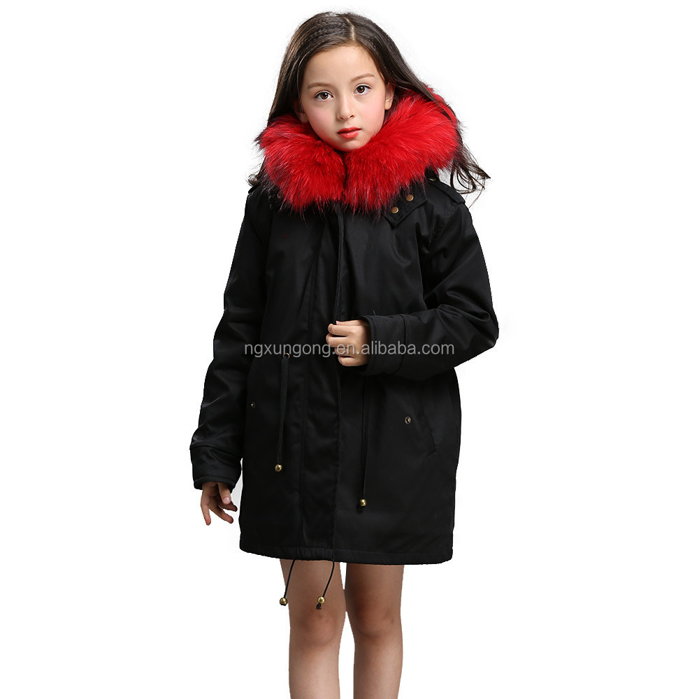 Kids Little Fall Girl Winter Hooded Fur Collar Thick Coat Jacket Outerwear