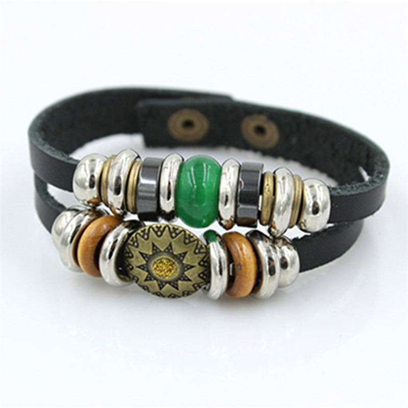 Double Wraps Leather Ethnic Bracelet, Inca Sun Aztec Jewelry, Enamel and Silver, Gift for Him Unisex