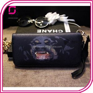 new arrival pu leather dog head printed clutch wallet