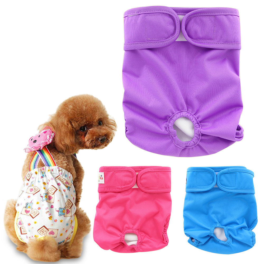 2016 Brand Washable Dog Diapers Cover Sanitary Dog Pants for S M L Size Cute Pets Dog Diaper Panties Underwear 9 Colors