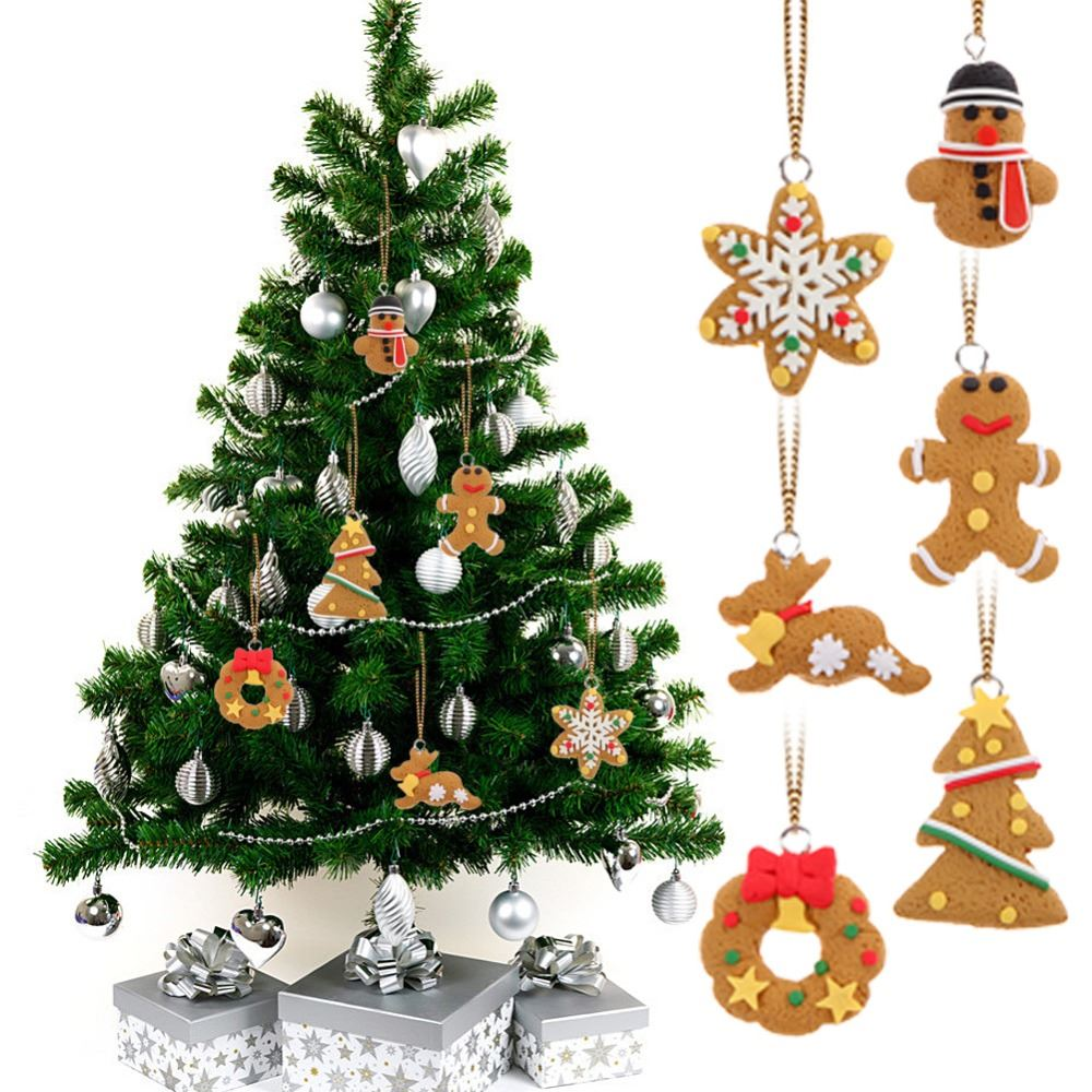 6pcs/lot Deer Snowman Pendant Chrismas Tree Christmas Gift Santa claus Christmas Decoration Supplies Arbol De Navidad