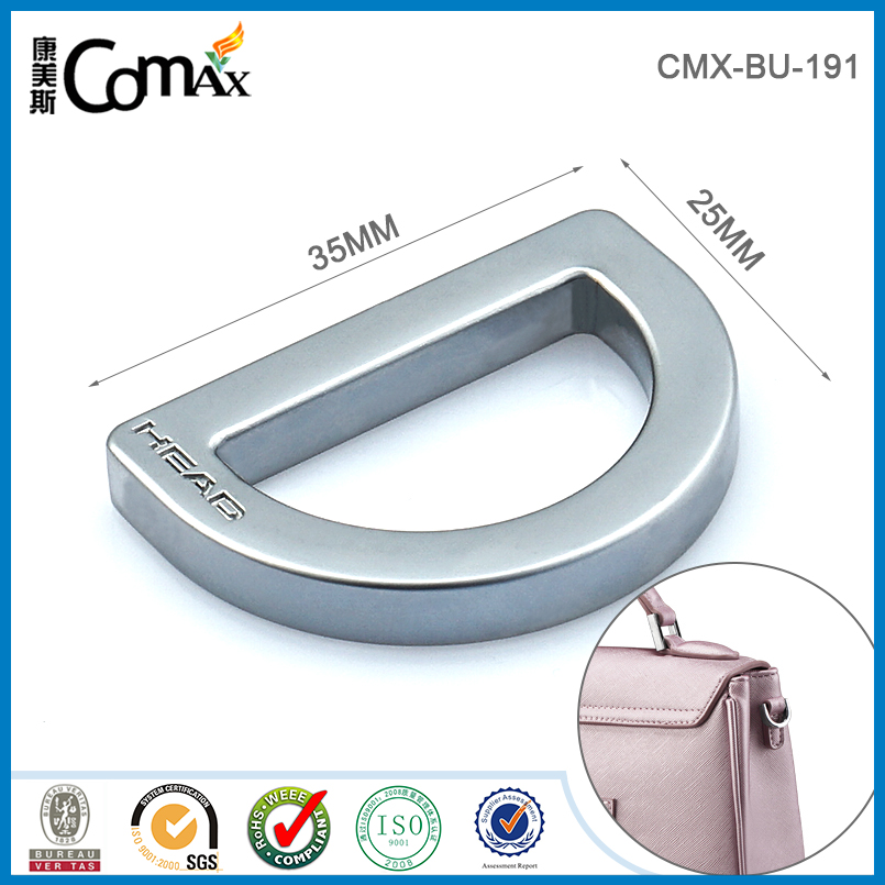 Accept Payment By L/C Custom handbag metal d ring with engraved logo