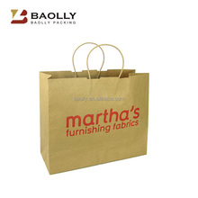 2016 wholesale OEM paper shopping bag custom printed recycled brown kraft paper bag with logo print