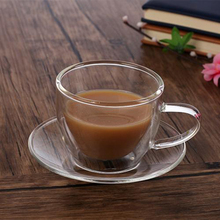Custom design heat resistant glass double wall cup and saucer