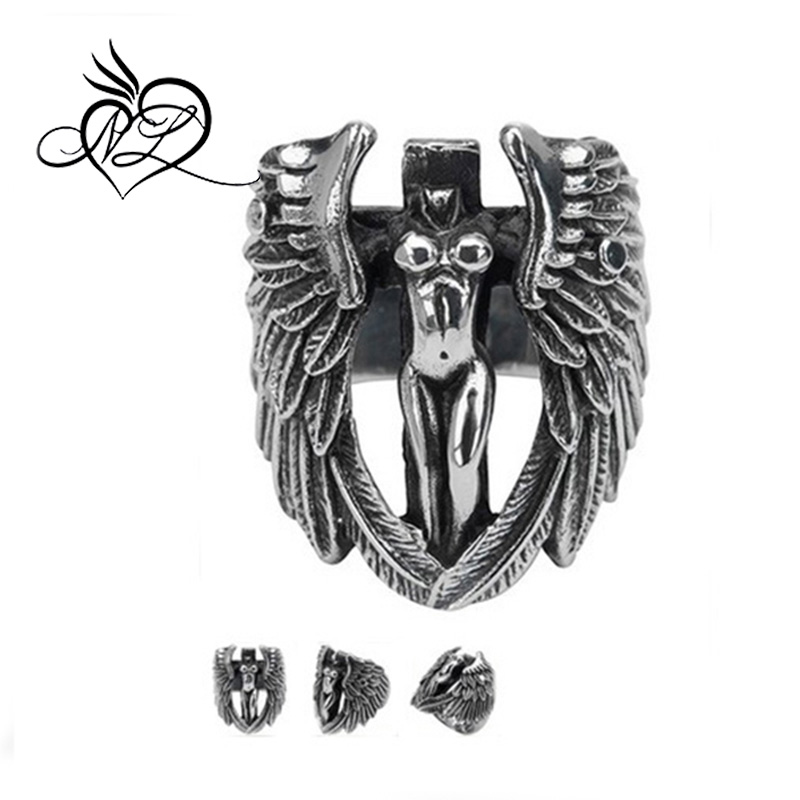 Men's 316L Stainless Steel Large Cross Angel Wing Unisex Ring Band Vintage Gothic Punk Biker Silver Black