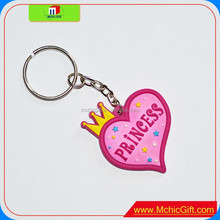 custom color print shaped toy heart cheap personality pvc keychain