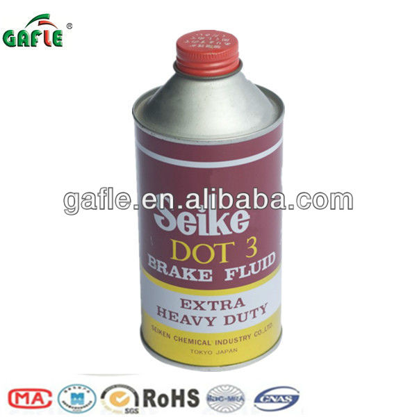 heavy-duty brake fluid dot 3 in tin bottle with high dry boiling point