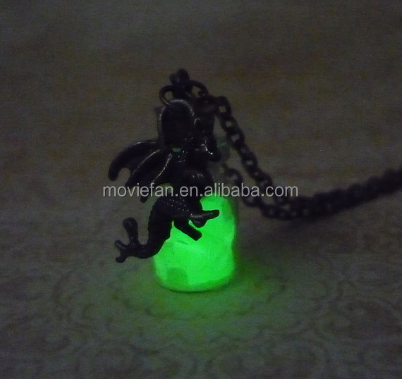 Glow In The Dark Necklace Dragon charm Fantasy green Glowing Jewerly in bronze