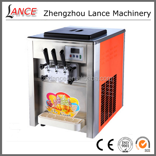 Hot sale countertop ice cream freezer/ 3 colors desktop soft ice cream maker with high quality