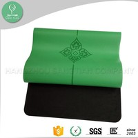 2016 wholesale Eco friendly comfort yoga mat custom printed anti slip natural rubber with PU leather folding yoga mat