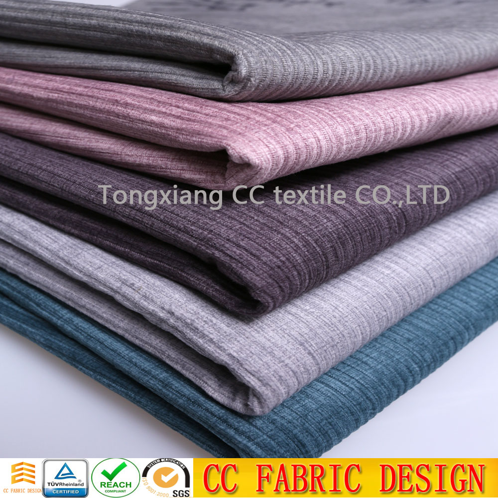 Printing stripe pattern lazy boy upholstery sofa fabric with knit brush backing corduroy sofa fabric