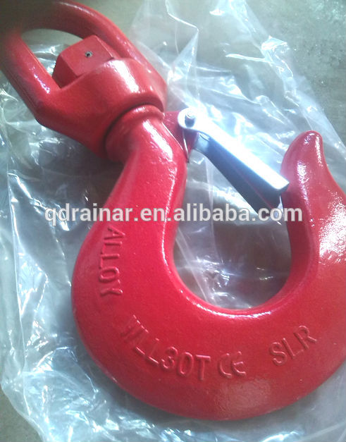 G80 wll 1 ton to 11ton CE painted swivel hook with latches