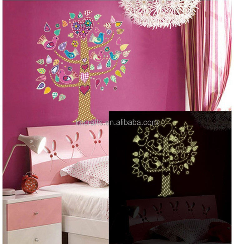 Free shipping New Arrival DIY Flower Bird Tree Luminous Fluorescence Wall Stickers kids room home decor wall decals ABQ9617