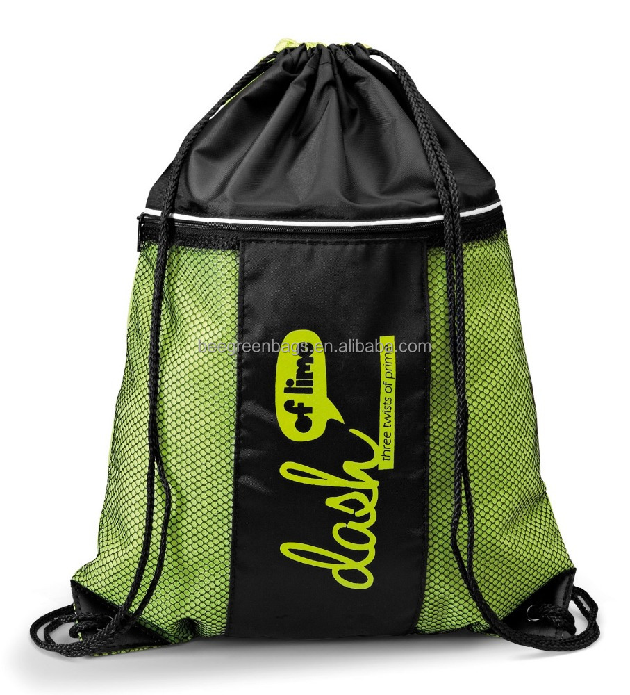 Custom cheap backpack drawstring bag with side mesh pocket for shoes