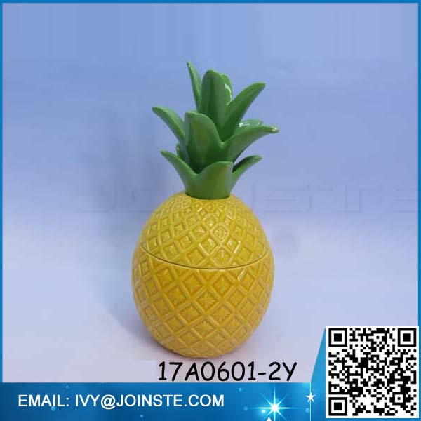 Pineapple shaped cookie jar yellow ceramic material jar cereal jar