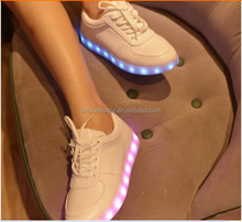 New style LED USB charge 8 colors light genuine leather sneakers fashion 2014 led shoes