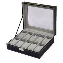 Custom Collins PU Leather Black 10 Slots Watch Box Travel Watch Storage Bag