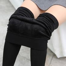 Winter Thick plain solid color leggings thermal warm fleece lined slimming pantyhose high waist Tights leggings