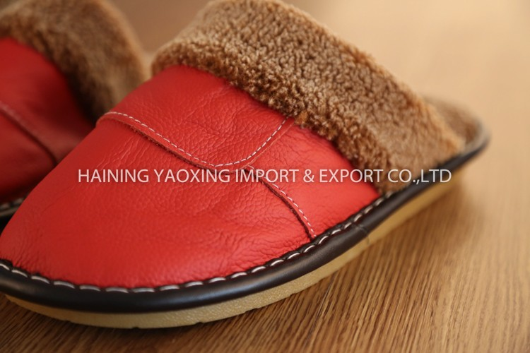 Hot genuine leather cow female indoor slipper custom wholesale