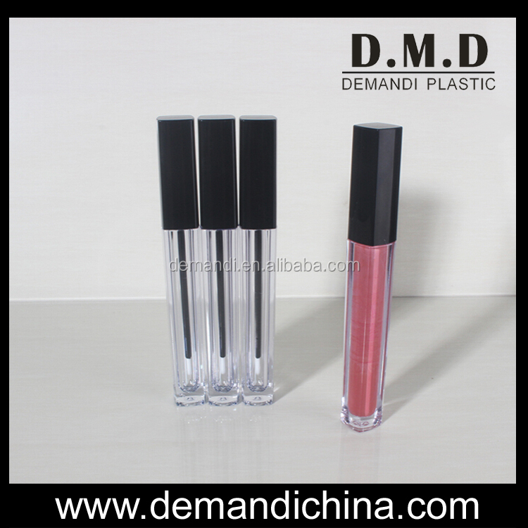 clear lipgloss tube empty square lipgloss tube packaging with black cap