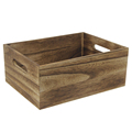 FSC&BSCI handmade rustic cheap charred paulownia wooden box without lid