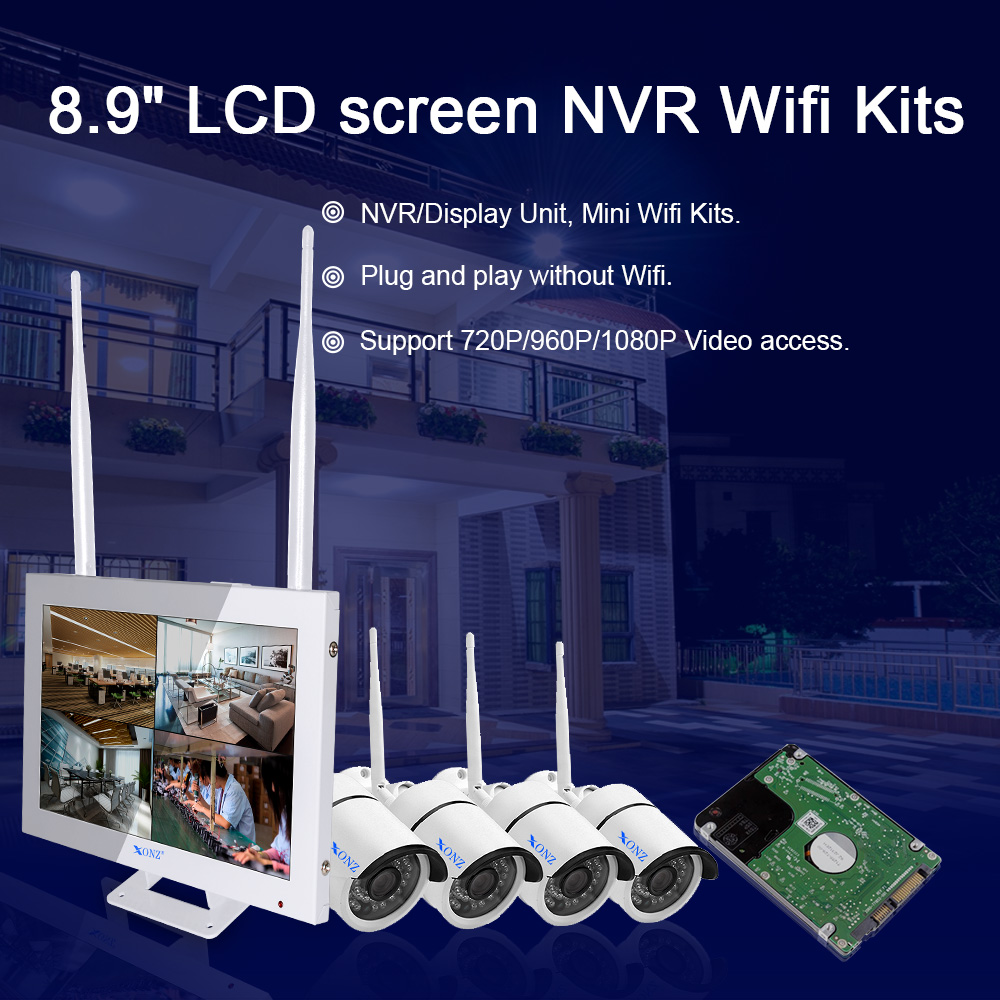 LCD screen security  cameras wireless NVR wifi kit, 4CH 8CH CCTV IP camara kit