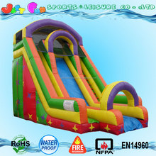 thriller inflatable rainbow swimming pool water slides with double climbings for sale