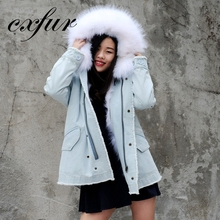 CX-G-P-18B Superior Quality Women Fashion Denim Parka With Raccoon Fur Hood