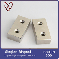 Customized Rare earth sintered block ndfeb magnet with countersunk hole for door carther