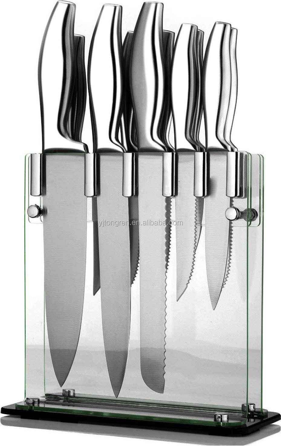 home & garden 12 piece Stainless-Steel swiss line knifes sets with Acrylic Stand
