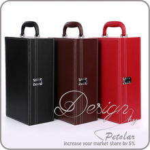 high quality gift box wholesale portable 2 bottles leather wine carrier