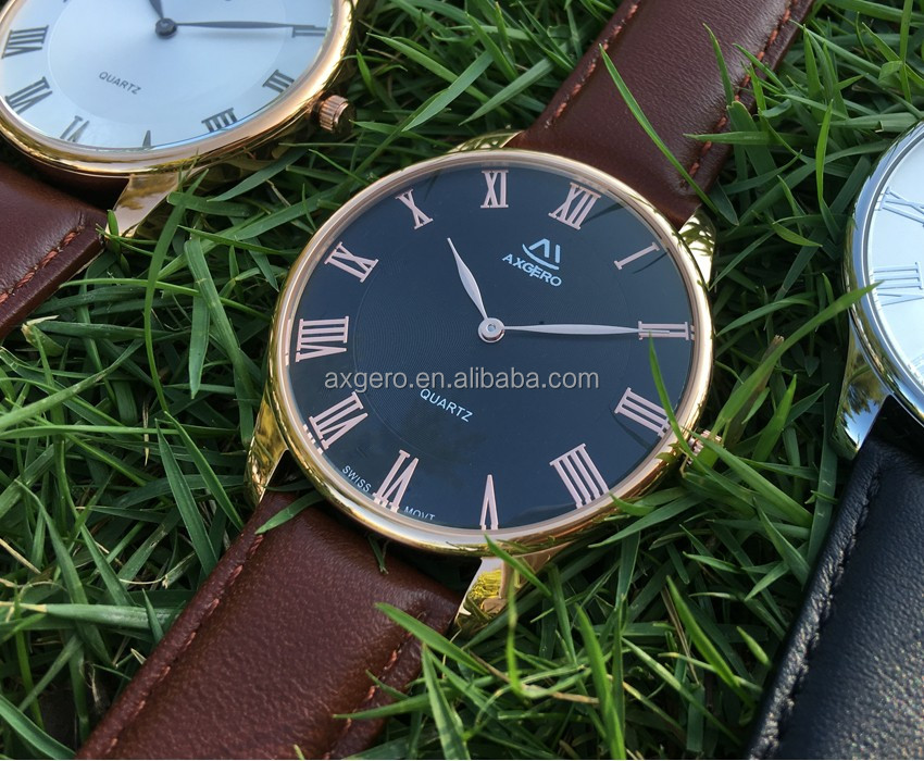 Men wrist own brand rose gold case good quality watch shenzhen watch factory