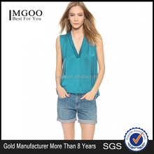 MGOO High Quality Women Satin High End Blouses V Neck Sleeveless Green Simple Tops 15120A378