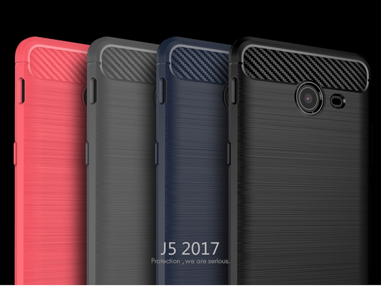 iPaky Brushed soft Carbon fiber Mobile cell phone cover shaockproof case for Samsung Galaxy J5 2017