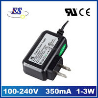 3W 12V 350mA AC DC Constant Current Wall Mounted Plug-In LED Driver Power Adapter with CE UL CUL