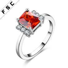 FSC New Fashion Gold Plated Ruby Colored Zircon Copper Wedding Bands Ring for Women