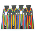 "Mens Womens 1"" Rainbow Sttripe Suspender Clip On Y Shape Adjustable Braces Adult Multi Color"
