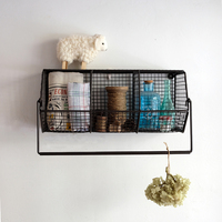 Wholesale Decoration Rustic Industrial Style Wire Wall Hanging Basket