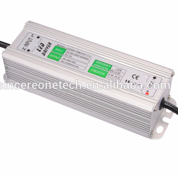 Waterproof led driver 70W constant current 2100mA power supply wholesale