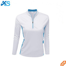 Women's dry fit moisture wicks breathable long Sleeve 1/4 zipper pullover polo Shirt made in China