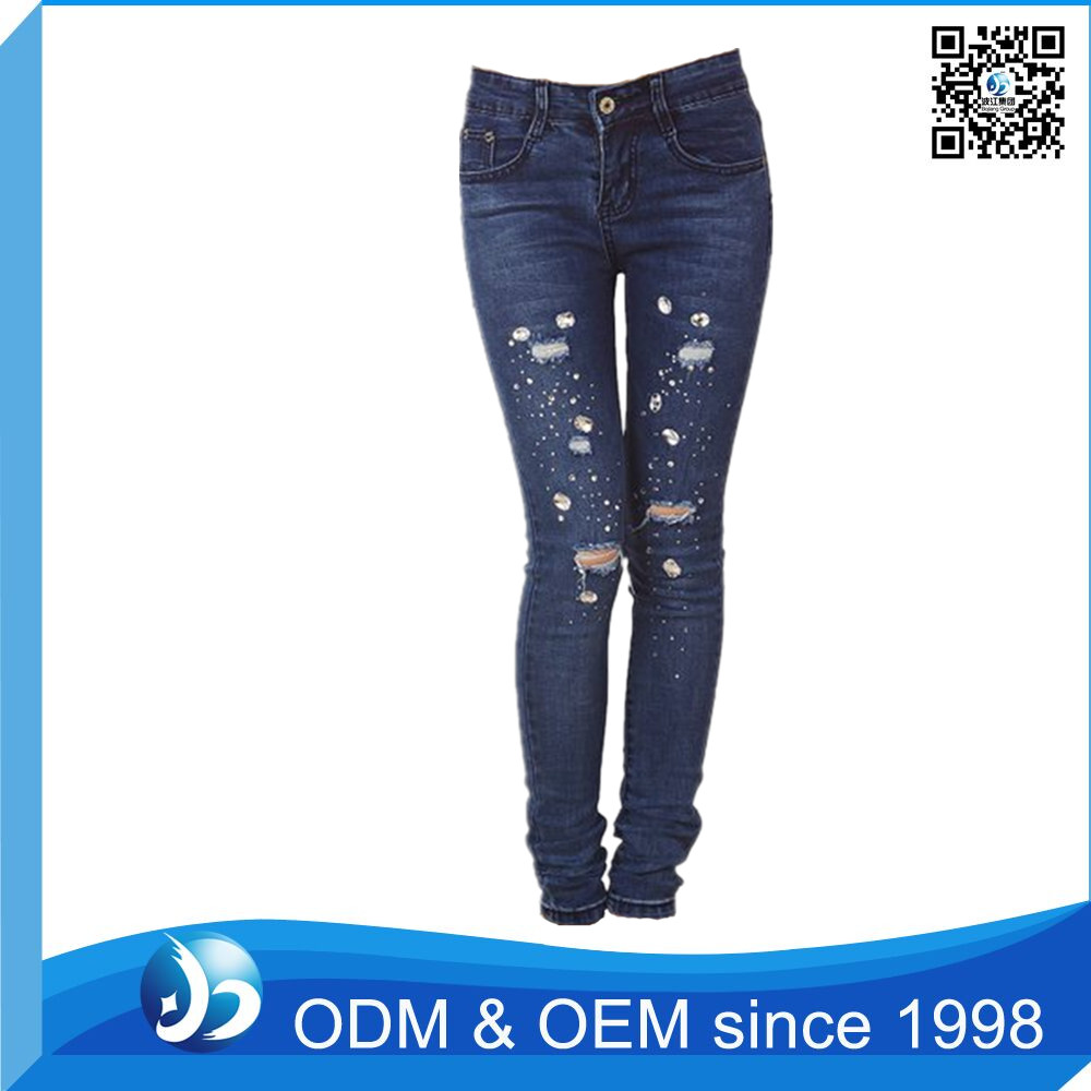 Custom Sex Ladies Beaded Skinny Denim Jeans Kurta