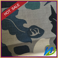 100% cotton printed blue camouflage ripstop fabric