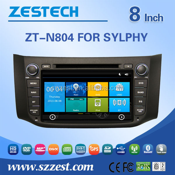 Popular 8 inch 2 din car dvd player for Nissan sylphy/bluebird sylphy car gps navigation system car audio system with 3G MP3 BT