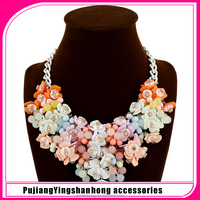 Western style luxury fashion necklace candy color flower jewellery