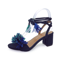 chinese low price stylish square toe tassel ladies high heel sandals