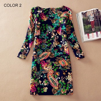 Plus Size Women Clothing Spring Fashion Flower Print Women Dress Ladies Long Sleeve Casual Autumn Dresses Vestidos