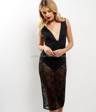 Sexy New Model Black V Neck Sleeveless Lace Bodycon Mini Dresses For Women